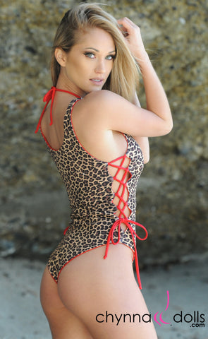 Bombay: Reversible Lace Up One Piece Swimsuit in Red x Leopard
