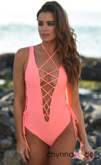 Bombay: Reversible Lace Up One Piece Swimsuit in Salmon x Orange Tropical