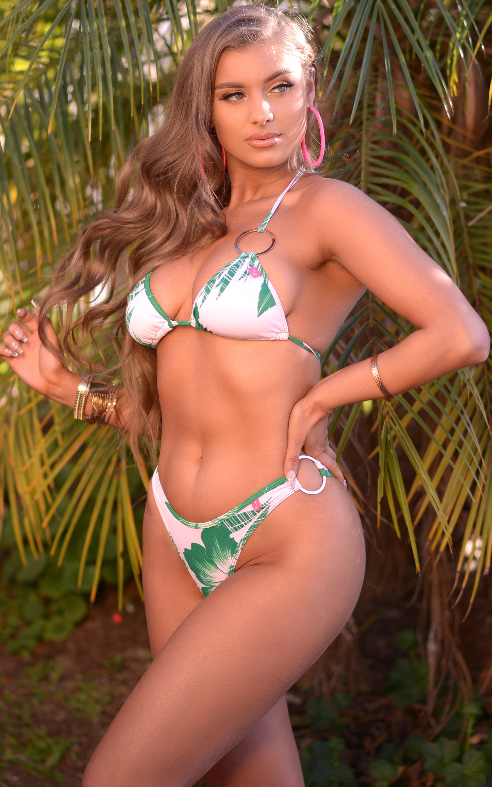 Cali: Triangle Loop High Cut Bikini in Foliage - Chynna Dolls Swimwear