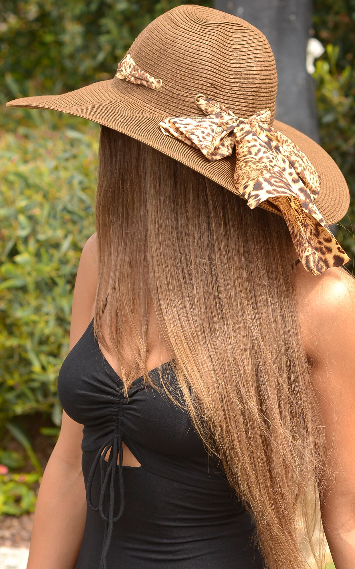 Hat: Brown Floppy Hat with Leopard Scarf Detail - Chynna Dolls
