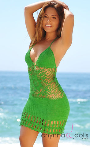 2 Tier Star Pattern Crochet Dress in Green