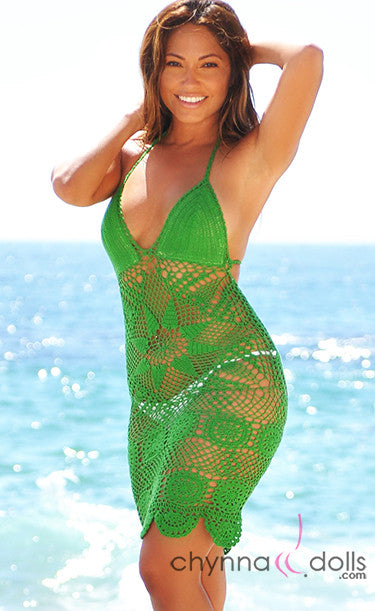 Star Pattern Crochet Dress in Green