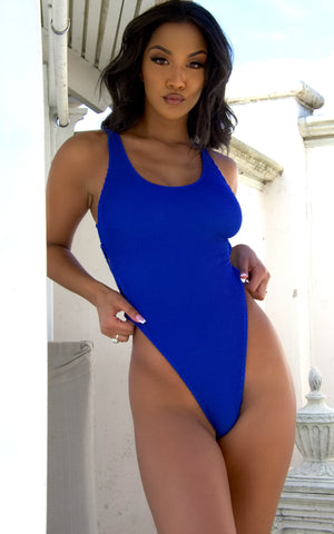 Costa Rica: Cutout Monokini in Royal Blue Crinkle - Chynna Dolls
