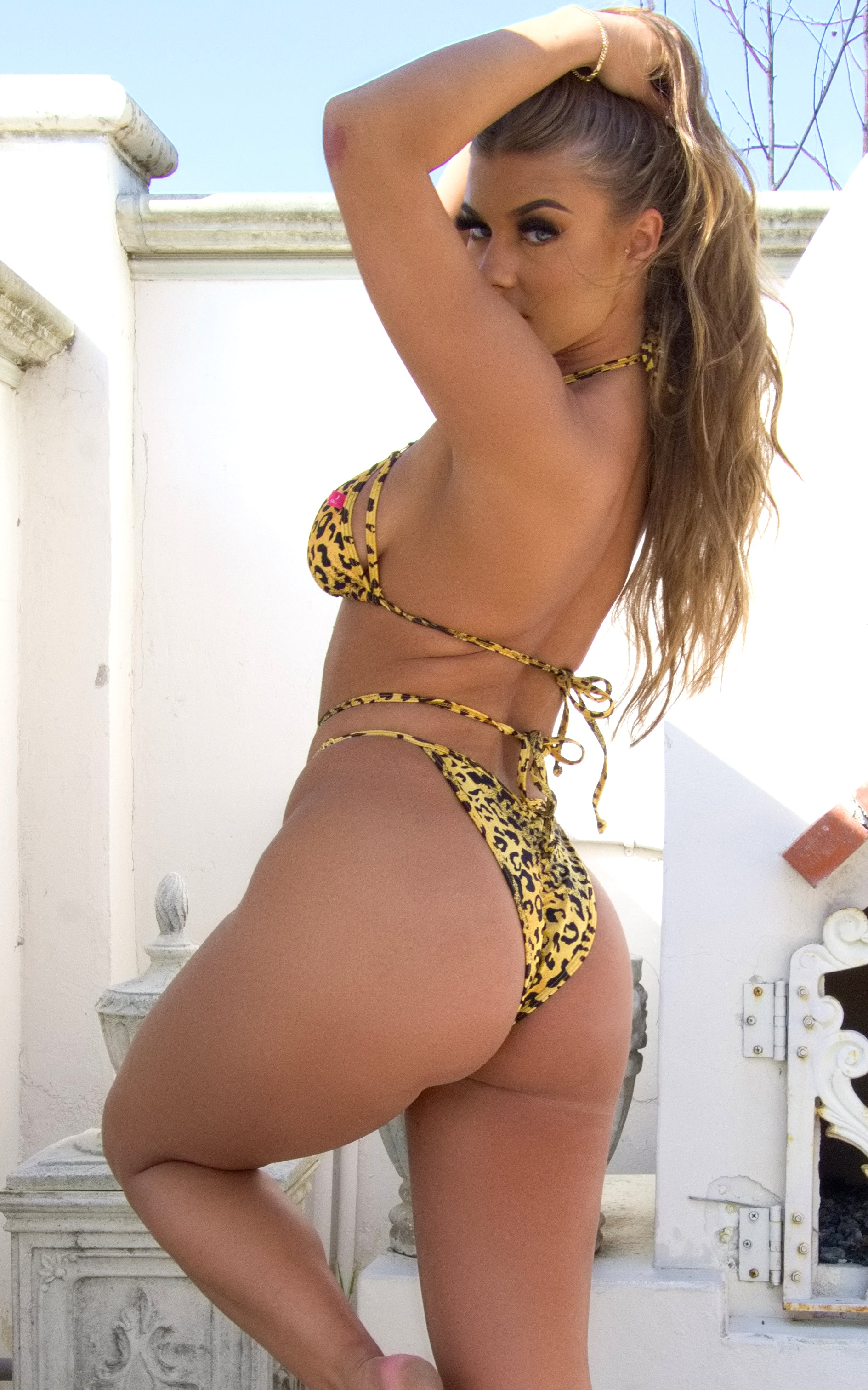 Dublin: Strappy Bikini in Yellow Leopard - Chynna Dolls