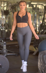 Power-moves: Textured Leggings in Grey - Chynna Dolls Swimwear