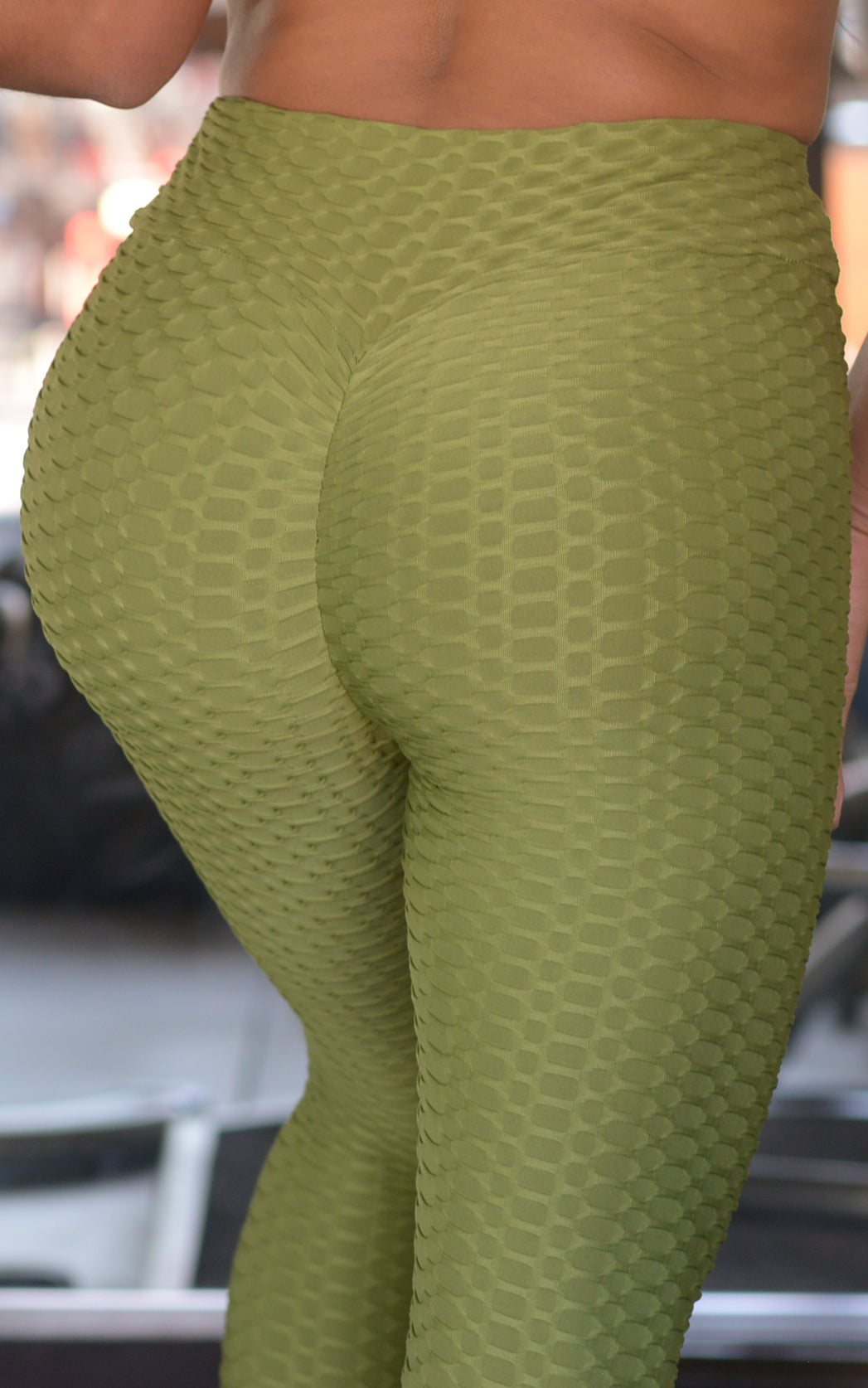 Power moves: Textured Leggings in Olive Green - Chynna Dolls Swimwear