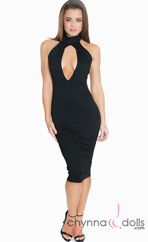 Mya: Plunge Keyhole High Neck Midi Length Bodycon Dress - $31.99