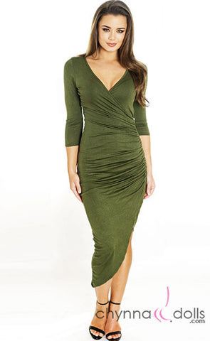 Bella: Asymetrical Wrap Dress with Zipper Detail and ¾ Sleeves - $27.99