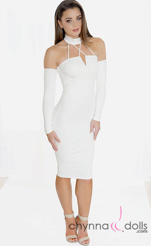 Ava: High Neck Midi Length Bodycon Dress with Long Sleeves and Peekaboo Shoulders - $38.99