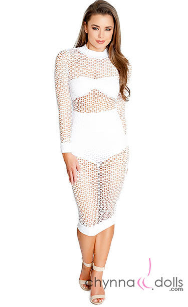 Maldives: Oval Net Long-Sleeved Dress Cover up in White