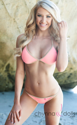 Bondi: String Bathing Suit in Salmon w/ Tan Trim