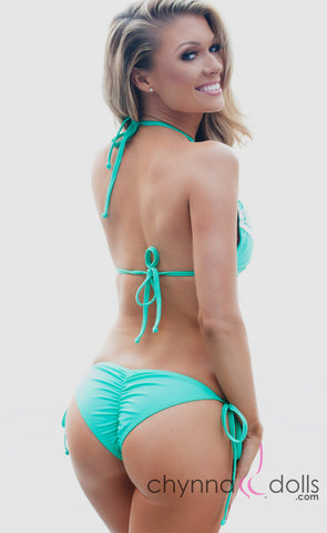 Charlotte: Crochet Halter Bikini in Mint Green - Chynna Dolls Swimwear