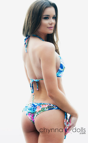 Charlotte: Crochet Halter Bikini in Blue Tropical Print