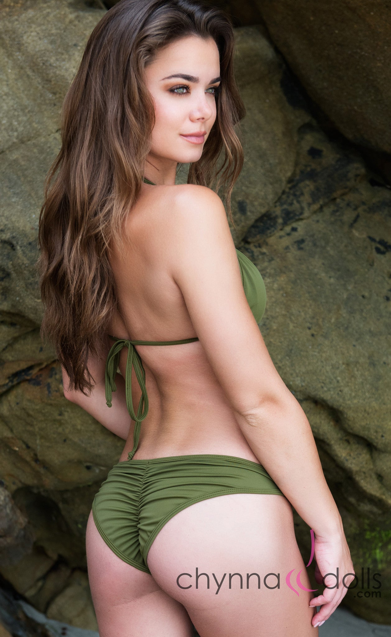 St. Barths: Scrunch Bottom Bikini in Olive w/ Chain Brooch - Chynna Dolls Swimwear