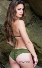 St. Barths: Scrunch Bottom Bikini in Olive Green w/ Chain Brooch Detail - Chynna Dolls Swimwear