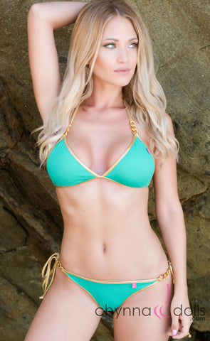 Samoa: Micro Bikini in Emerald w/ Gold Trim and Gold Chain Detail