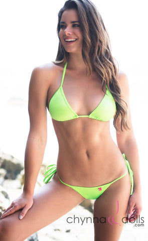 Rio: Classic Triangle Top and TBack Thong with Ties Bikini in Solid Neon Green - Top:$24.99 Bottom:$24.99