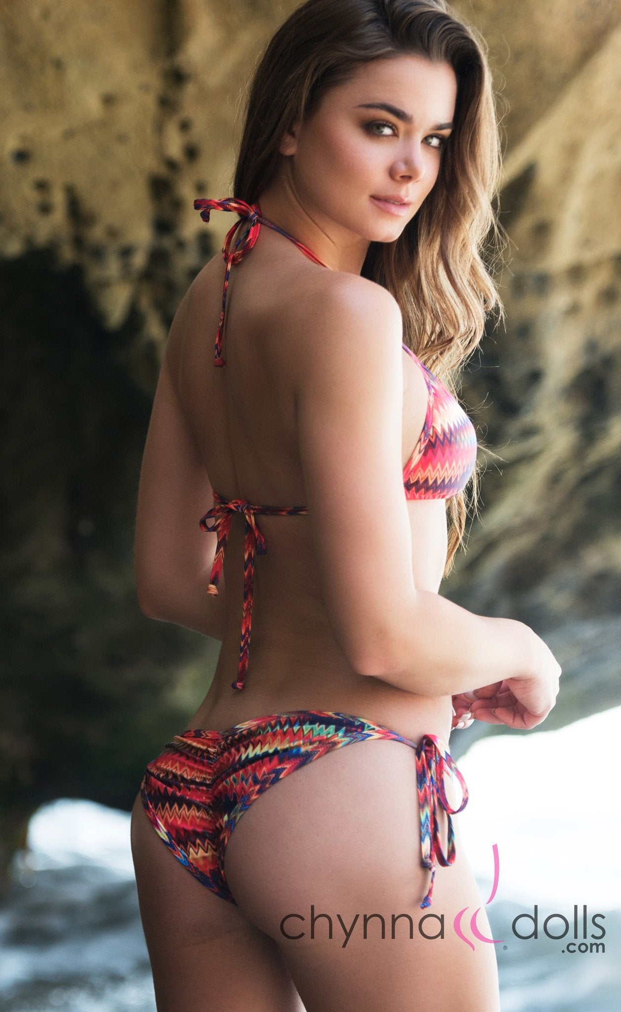 Laguna: String Bathing Suit in Tribal Chevron Print - Chynna Dolls Swimwear