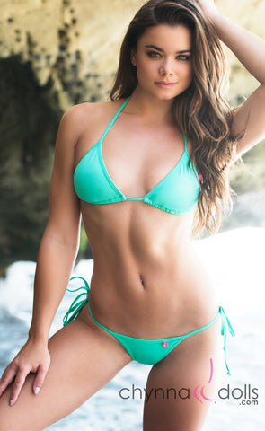 Rio: TBack Thong Bikini in Solid Mint Green