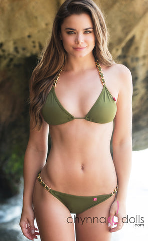 Milan: String Bikini in Olive Green w/ Gold Chain Detail