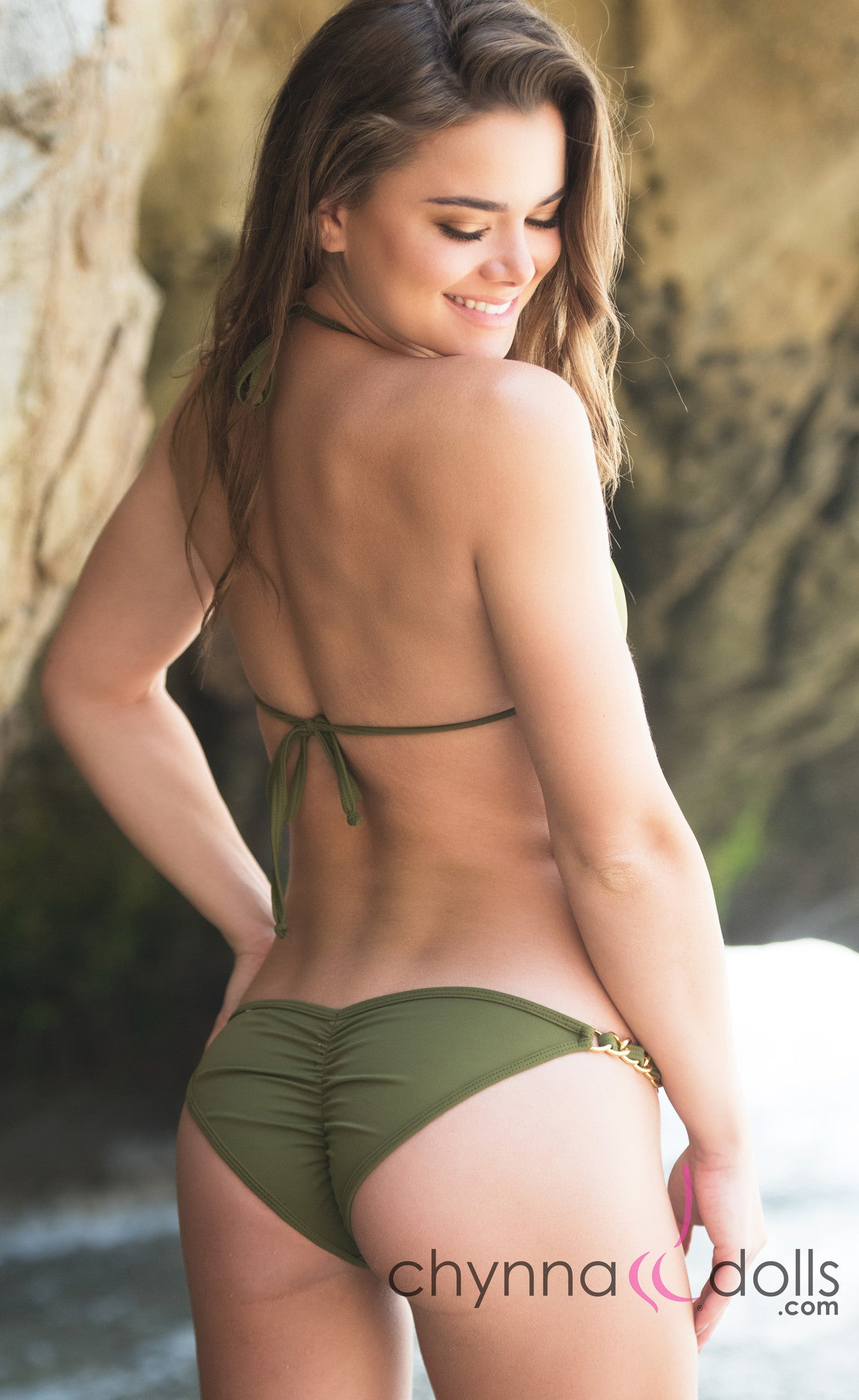 Green and gold bikini