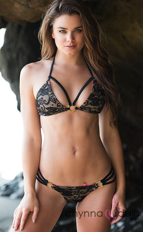 Lourdes: Strappy Bikini in Tan w/ Black Lace Overlay and Gold Rings