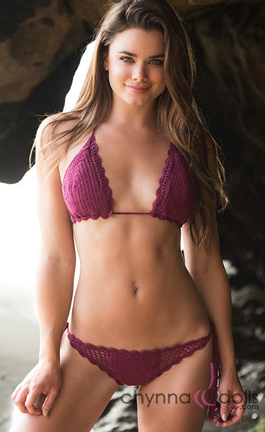 South Beach: Crochet 2 PC Bikini in Burgundy