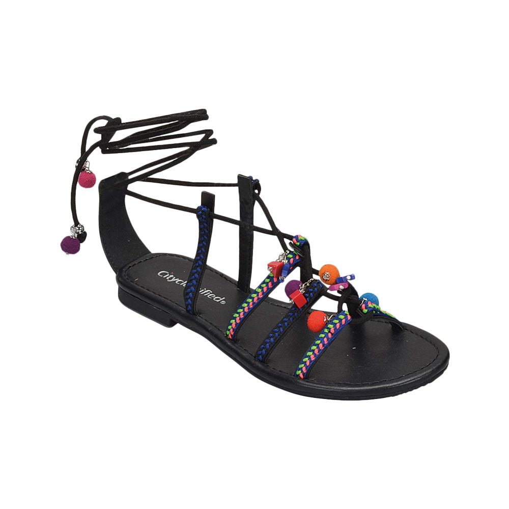 Howell: Colorful Embroidery Lace Up Sandals in Black
