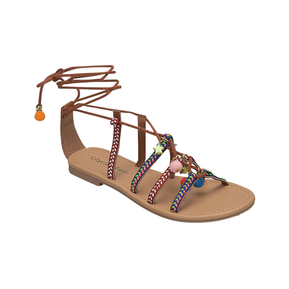 Howell: Colorful Embroidery Lace Up Sandals in Tan