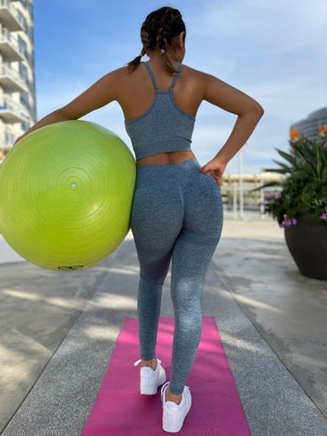 Crushing It: Seamless Workout Outfit in Blue - Chynna Dolls Swimwear