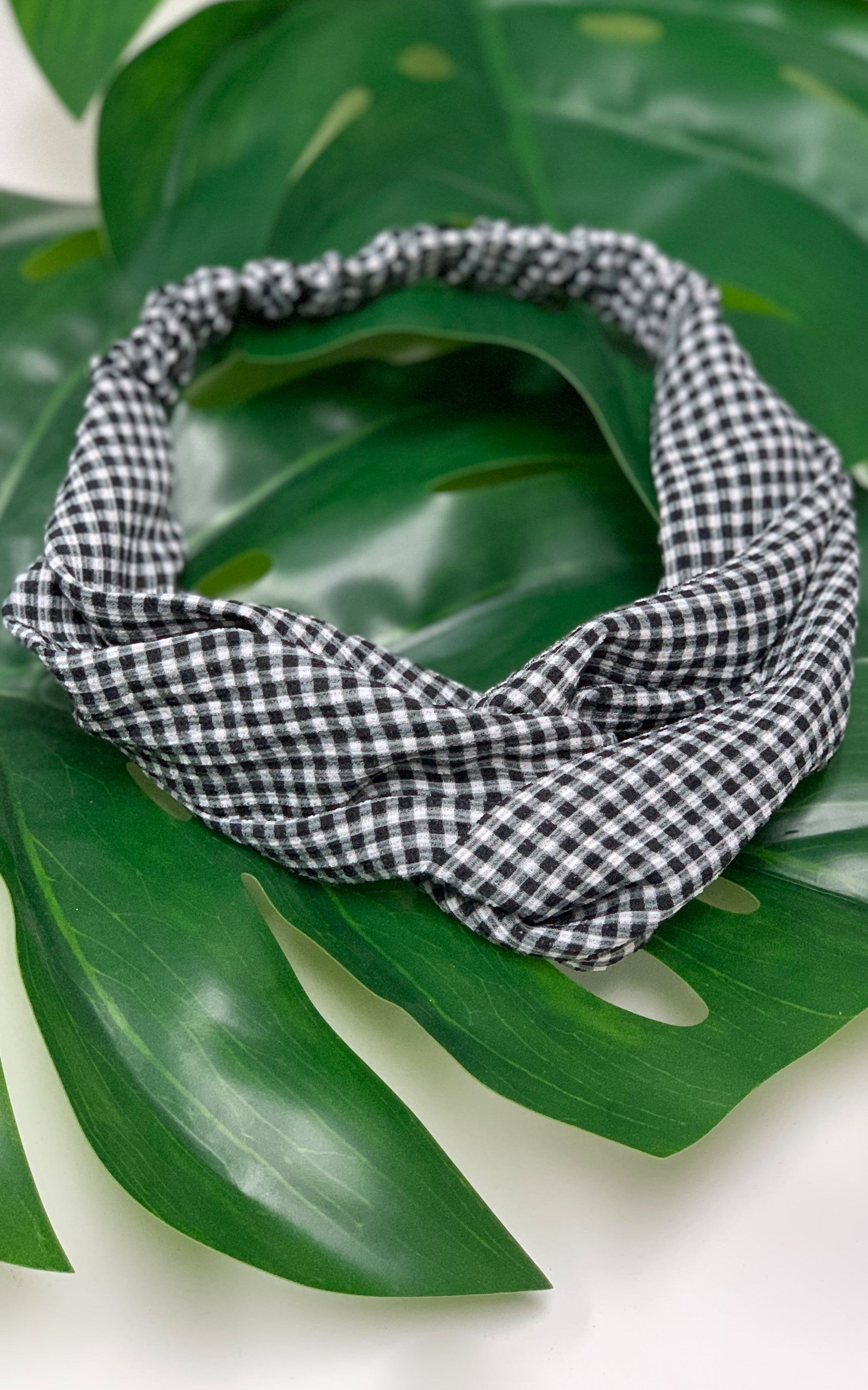 Black Gingham Print Headband - Chynna Dolls Swimwear