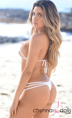 Myrtle Beach: Strappy Cut out Thong Bikini in White - Chynna Dolls Swimwear
