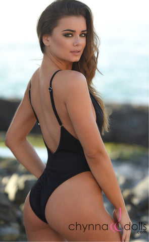 St. Martin: High Cut Swimsuit Monokini w/ Plunging Neckline in Black