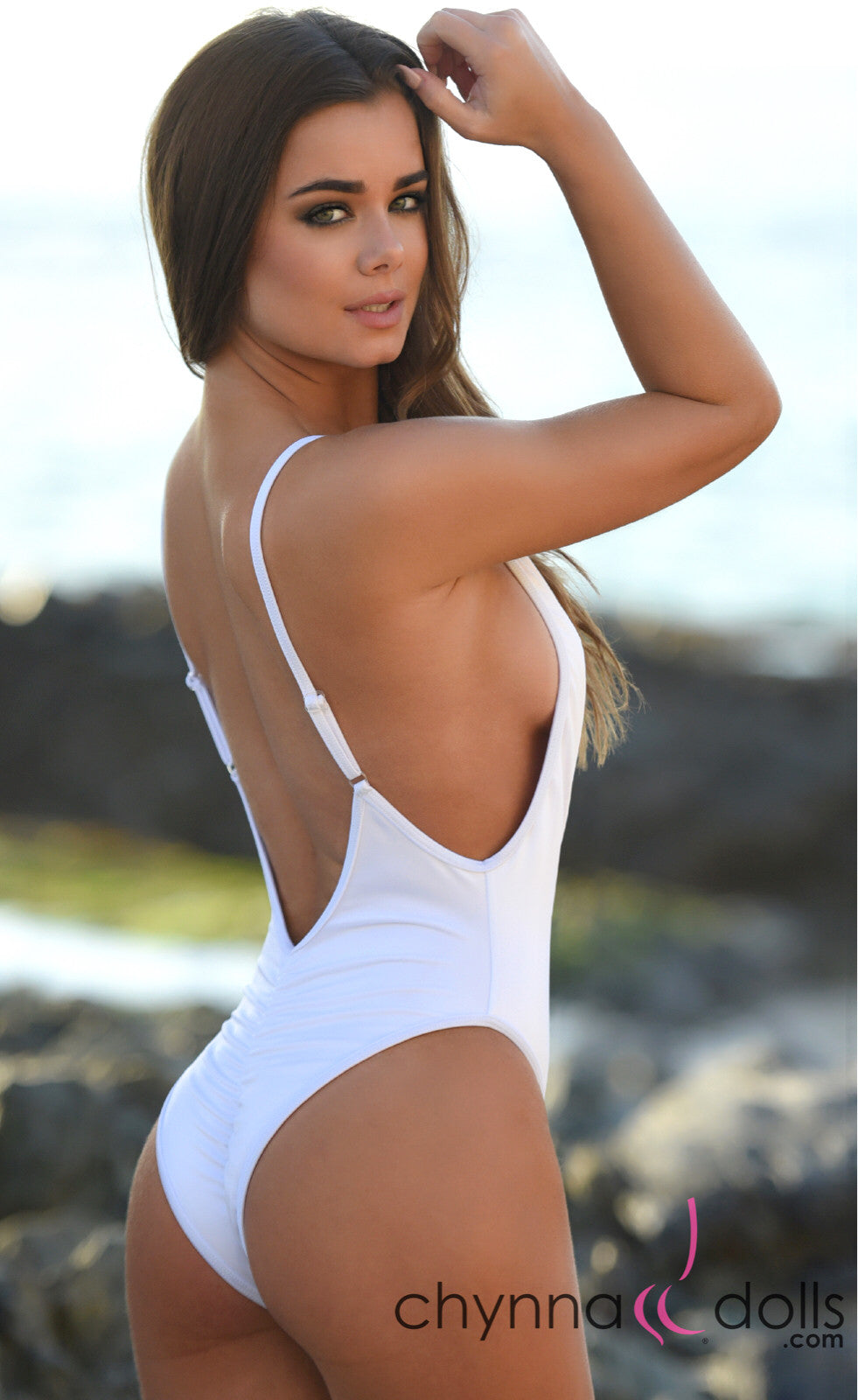 St. Martin: High Cut Swimsuit Monokini w/ Plunging Neckline in White - Chynna Dolls