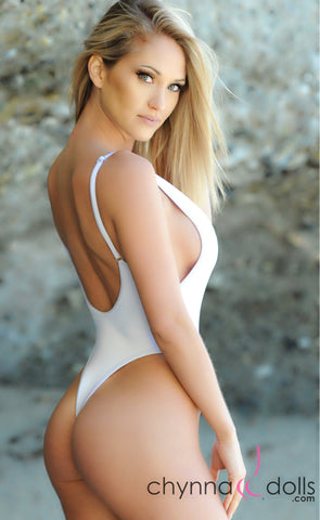 St. Martin: High Cut Swimsuit Monokini w/ Plunging Neckline in White