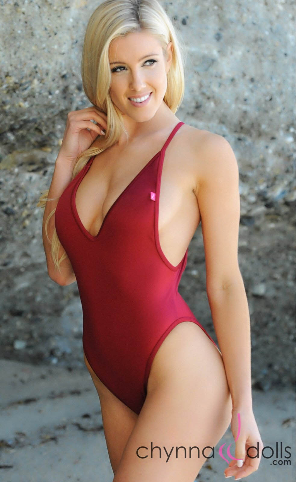 St. Martin: High Cut Monokini w/ Plunging Neckline in Wine - Chynna Dolls Swimwear