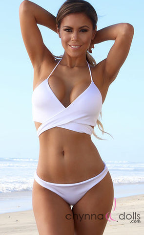 Rosarita: Wrap Halter Swimsuit in Solid White - Chynna Dolls