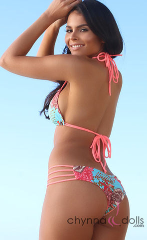Ibiza: Reversible 4 Strap Diamond Bitty Swimsuit in Salmon/Salmon Floral