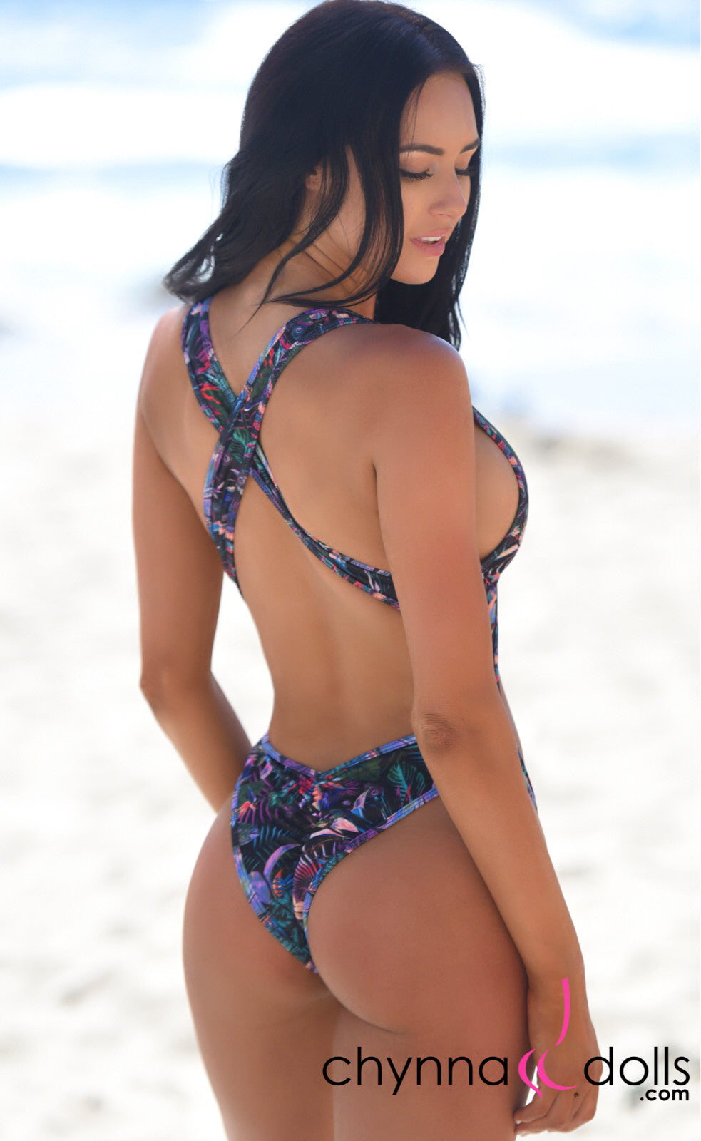 Verona: High Cut Monokini in CD Exclusive Black Tropical - Chynna Dolls Swimwear