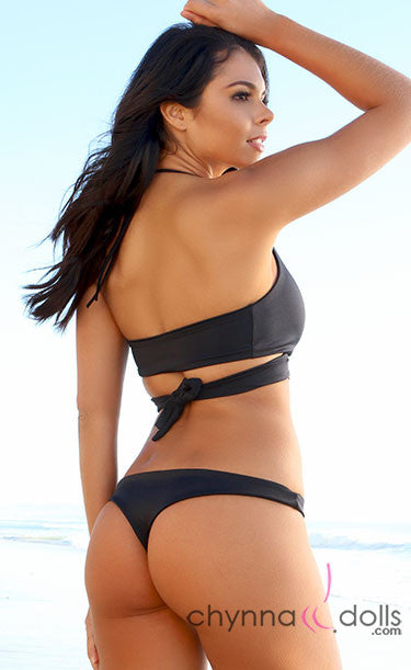 Rosarita: Wrap Halter Bikini in Solid Black - Chynna Dolls Swimwear
