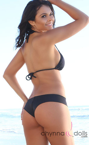 Huntington: Boyshorts Bikini in Solid Black - Chynna Dolls Swimwear
