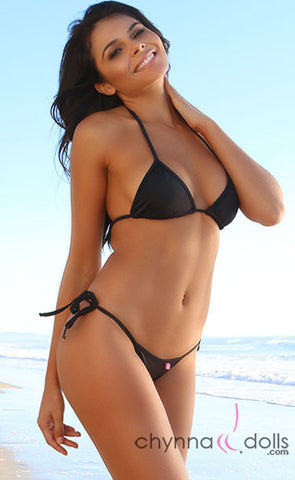 Rio: TBack Thong Bottom with Ties and Classic Triangle Top in Solid Black - Top: $24.99 Bottom: $24.99