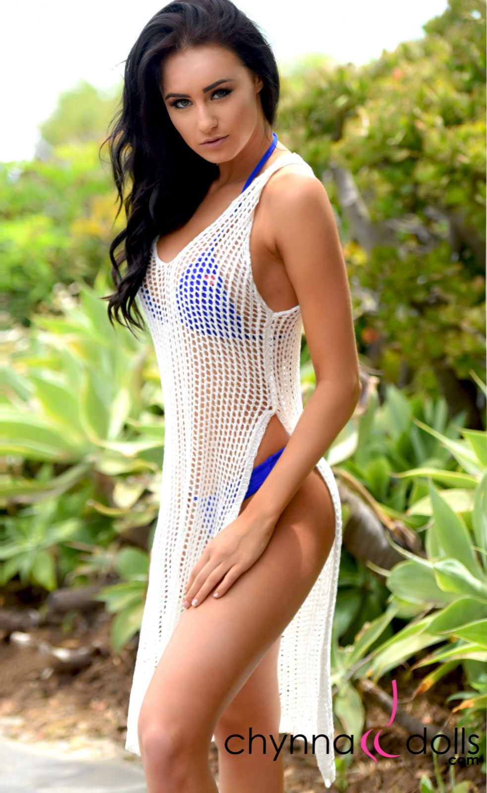 Melrose: Crochet Dress Coverup with Side Slits in White - Chynna Dolls Swimwear