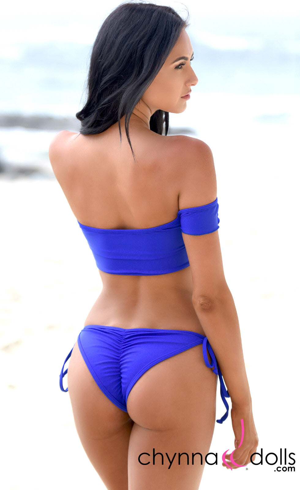 Savannah: Off the Shoulder Lace Up Top and String Bottom in Royal Blue - Chynna Dolls Swimwear