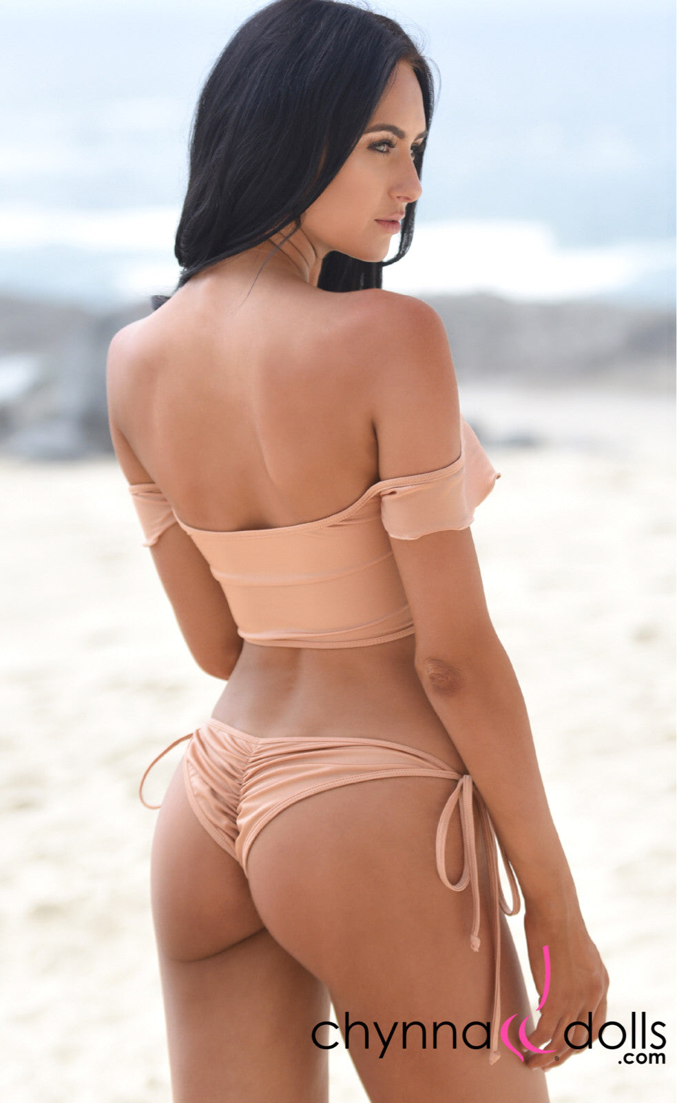 Savannah: Off The Shoulder Lace Up Top and String Bottom in Blush - Chynna Dolls Swimwear