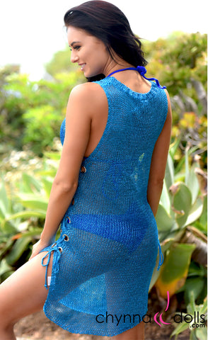 Metallica: Metallic Cover-up dress with side lace up in Blue - Chynna Dolls