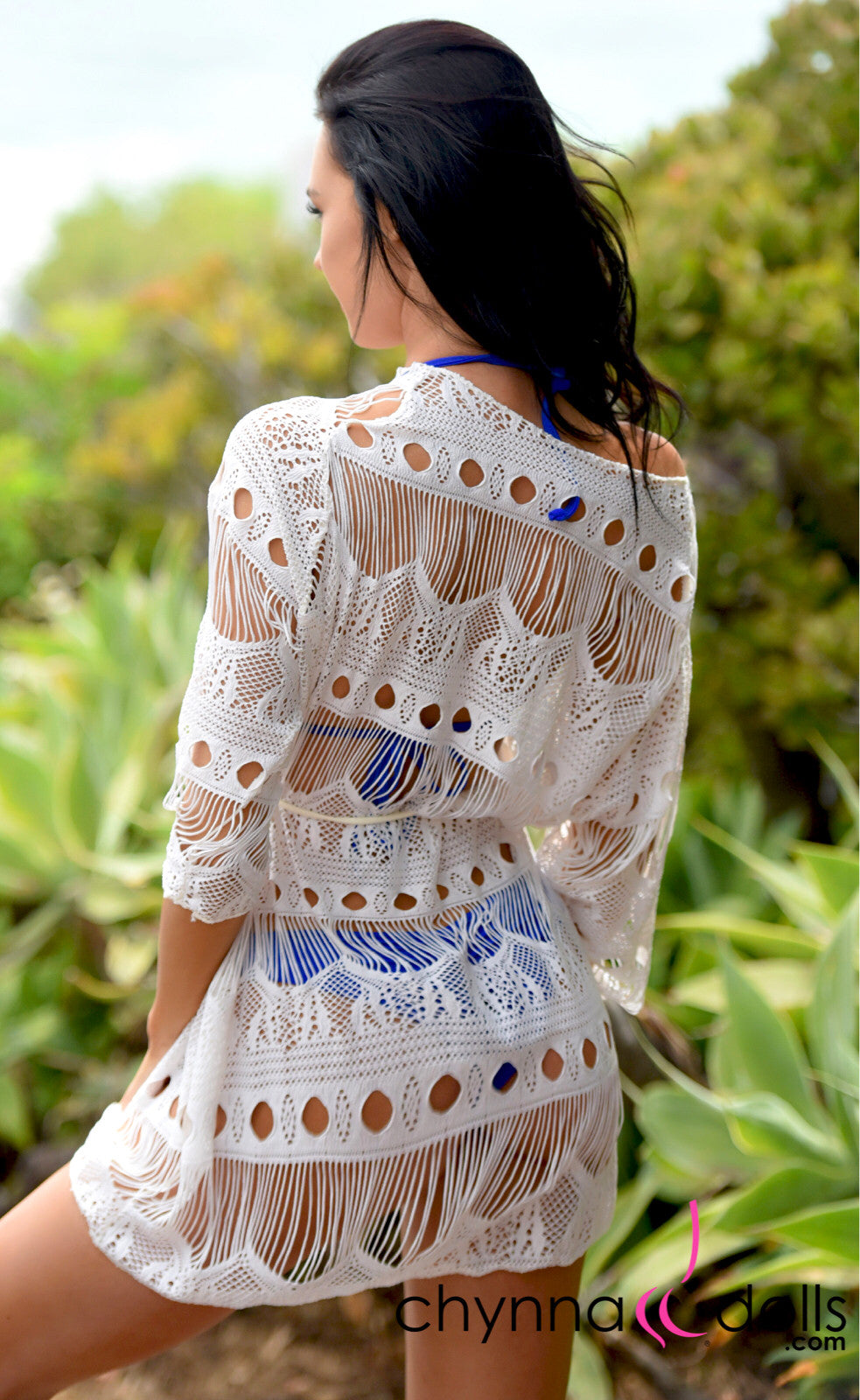 Aleah: Oversizes Net Coverup with Drawstring Ties in Off White - Chynna Dolls Swimwear