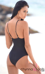 Seville: One-Piece with cutout details in Black - Chynna Dolls Swimwear