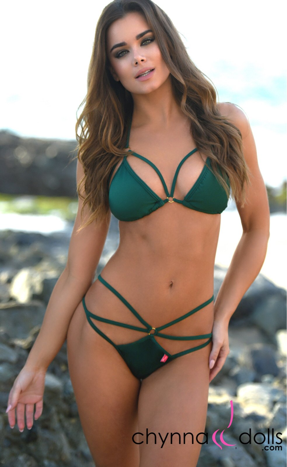 Tahiti: Sexy Strappy Swimsuit In Hunter Green - Chynna Dolls Swimwear