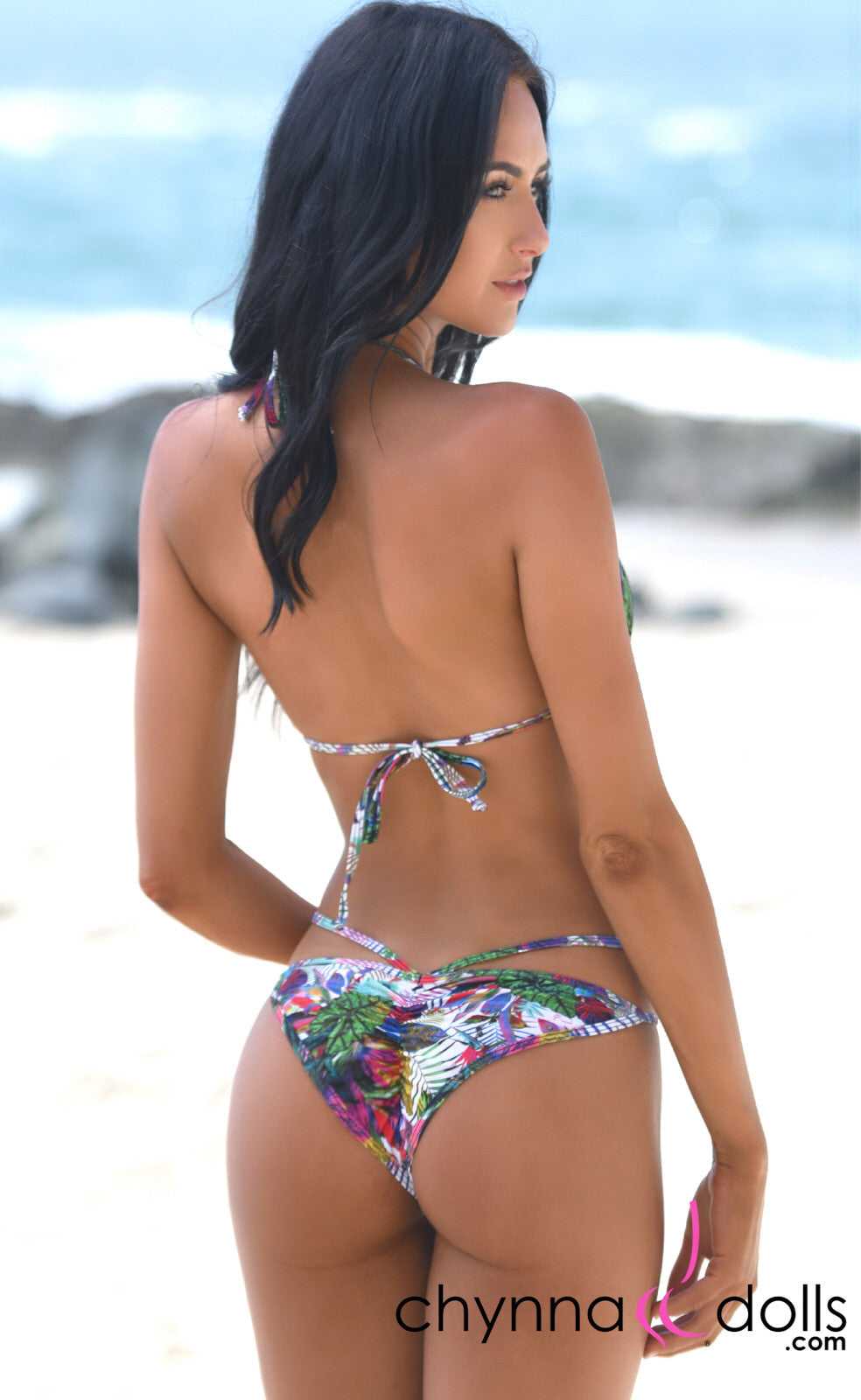 Tahiti: Strappy Bikini In CDW Tropical Print - Chynna Dolls Swimwear